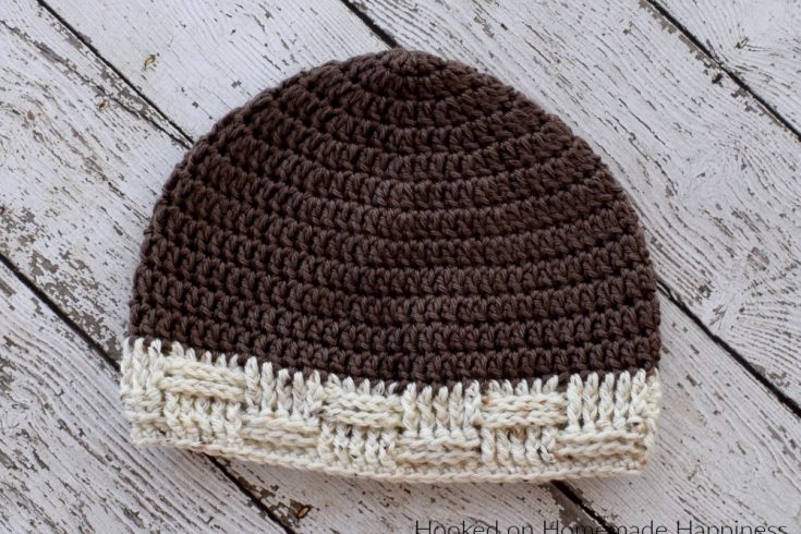 Basketweave Brim Beanie Crochet Pattern - The Basketweave Brim Beanie Crochet Pattern is a really versatile pattern and can be made for men and women. The pattern is written large for a man, but can easily be adjusted to a smaller size.