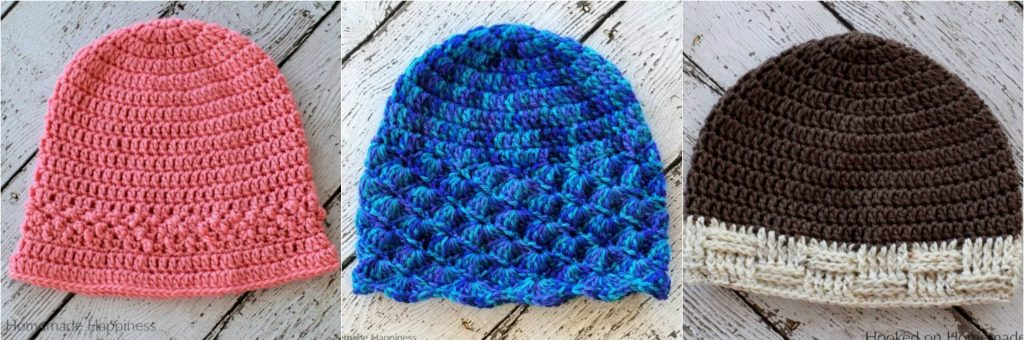 Shell Beanie 3. Basketweave Beanie. Simple Striped Beanie Crochet Pattern 7fc46bff89b