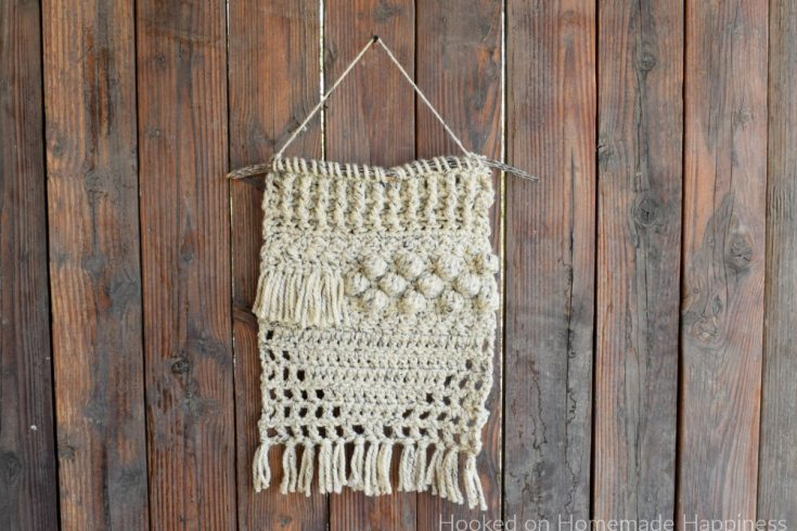 Textured Wall Hanging Crochet Pattern - I used some super bulky yarn from my stash to make this fun and funky Textured Wall Hanging Crochet Pattern!