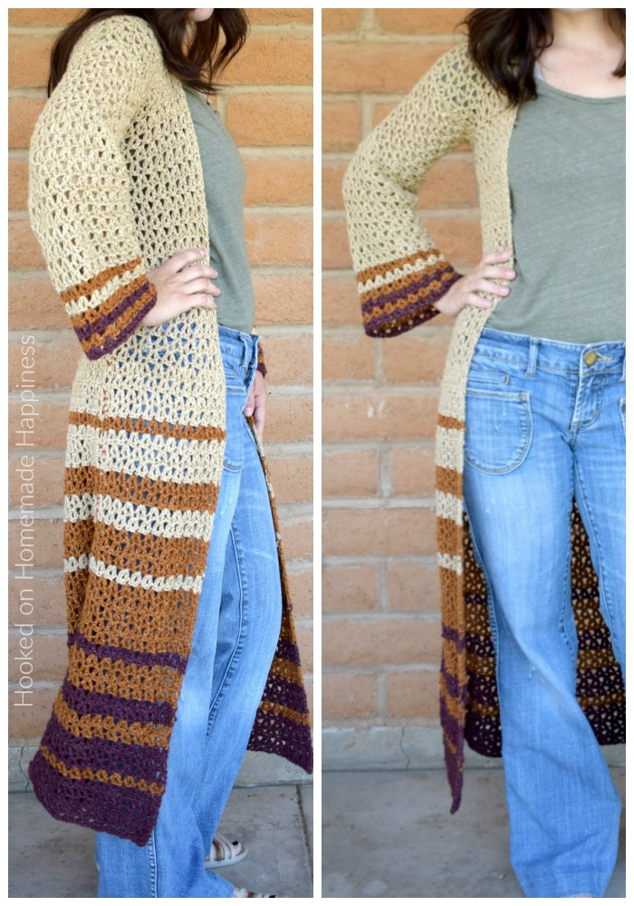 Boho Duster Cardigan Crochet Pattern - The Boho Duster Crochet Pattern is just what you need for fall! It's long, comfy, and has a fun bell at the hips and in the sleeves. #crochetpattern #freecrochetpattern