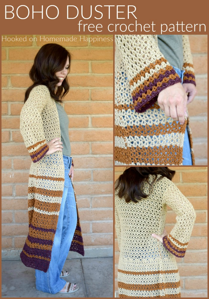 Boho Duster Crochet Pattern - The Boho Duster Crochet Pattern is just what you need for fall! It's long, comfy, and has a fun bell at the hips and in the sleeves. #crochetpattern #freecrochetpattern