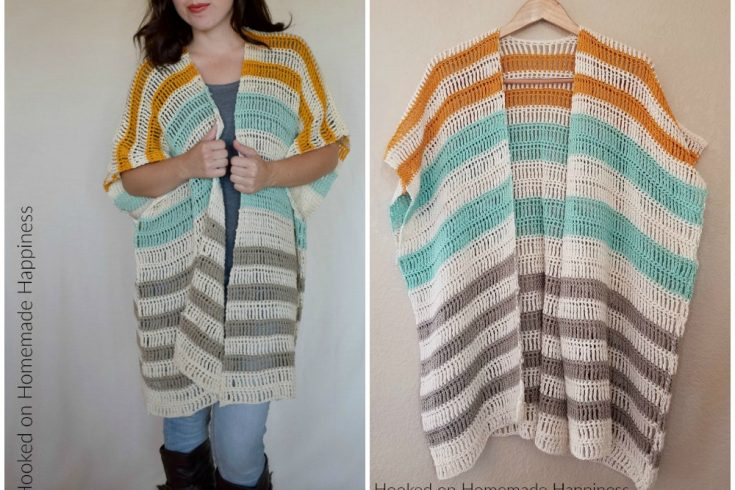 Bahama Mama Ruana Crochet Pattern - The Bahama Mama Ruana Crochet Pattern is a stylish, oversized, and flowy cardigan. I love how it looks layered with jeans and boots!  #freecrochetpattern #crochetpattern #crochet