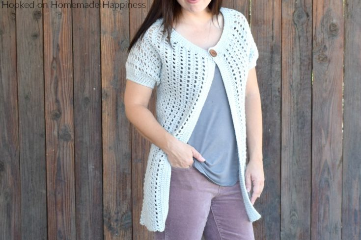 Casual Crochet Cardi Pattern - This Casual Crochet Cardi Pattern is my new favorite layering piece! It's made with DK weight yarn, has an open and airy design, and is short sleeved. It's the perfect Fall and Spring cardigan.