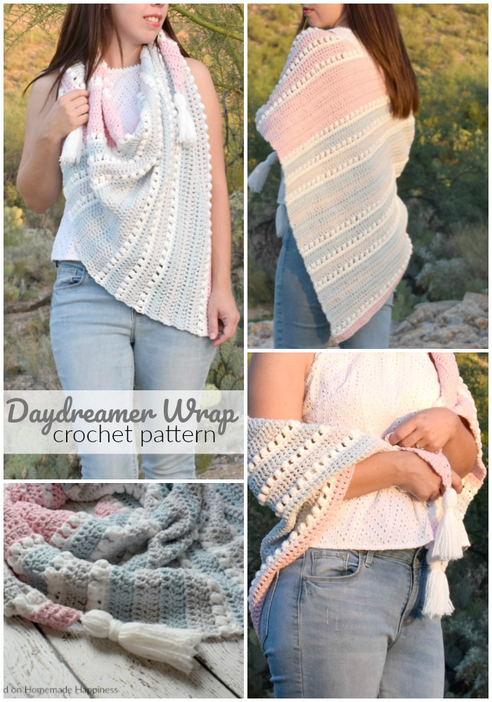 Daydreamer Crochet Wrap Pattern - The Daydreamer Crochet Wrap Pattern is make with some of the softest acrylic yarn ever and lemme tell you... this wrap really does feel like a dream!