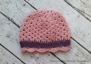 Sweet Scallops Beanie Crochet Pattern - This Sweet Scallops Beanie Crochet Pattern is an easy and adorable little girl's hat. It uses a couple different stitches to create the pretty textures.
