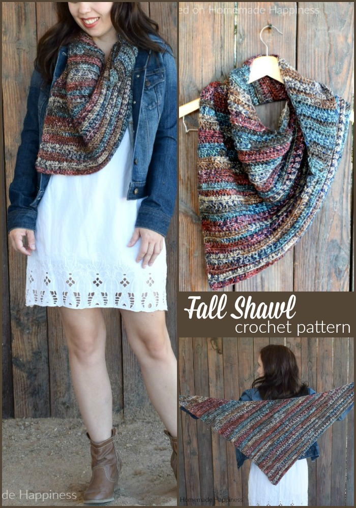 The Fall Shawl Crochet Pattern - The Fall Shawl Crochet Pattern is an easy asymmetrical shawl style scarf. The yarn I used has beautiful jewel tones that are perfect for a fall accessory.