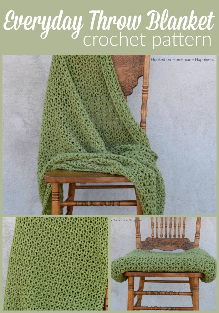Everyday Throw Blanket Crochet Pattern - This Everyday Throw Blanket Crochet Pattern is an easy blanket with a simple 1 row repeat. I used one of my favorite stitches, the Offset V Stitch. If you've ever used the V stitch then you know how simple it is. The only difference is with this version you place the v stitch in a dc instead of the ch space. It gives an interesting and textured look.