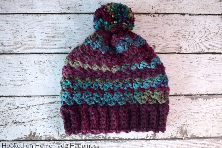 Mulberry Beanie Crochet Pattern - The Mulberry Beanie Crochet Pattern is warm, cozy, and has a little bit of slouch. I used a bulky weight yarn and a large hook to make it nice and squishy and comfortable to wear.