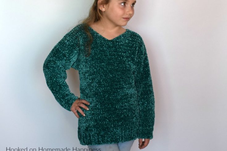 Kid's Velvet Sweater Crochet Pattern - The Kid's Velvet Sweater Crochet Pattern is the softest, coziest sweater I have ever made! (Don't worry, I already have an adult version in the works) This pattern comes in sizes 5 - 12 and is perfect for the little one in your life! Trust me, they will love having this snuggly sweater in their closet.