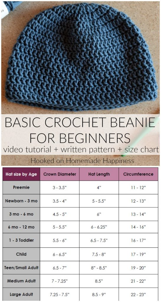 If you're new to crochet beanie making then this is the blog post for you! In the video tutorial, How to Crochet a Basic Beanie for Beginners, I will show you how to start a beanie with a magic circle, how to crochet in the round, and how to measure a beanie for different sizes. The written pattern and size chart are also available below.