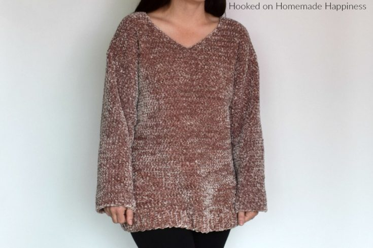 Velvet Pullover Sweater Crochet Pattern - Are you ready for the comfiest, coziest sweater EVER?! This Velvet Pullover Sweater Crochet Pattern is so comfy you'll want to wear it all. the. time.