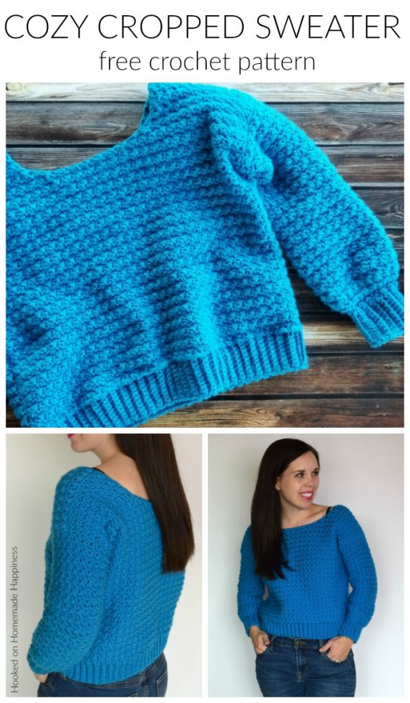 Cozy Cropped Sweater Crochet Pattern - The Cozy Cropped Sweater Crochet Pattern is made with one of my favorite stitches, the Suzette Stitch! It creates a sturdy and beautiful texture. Because of the tight stitch, this little sweater is surprisingly warm and cozy!
