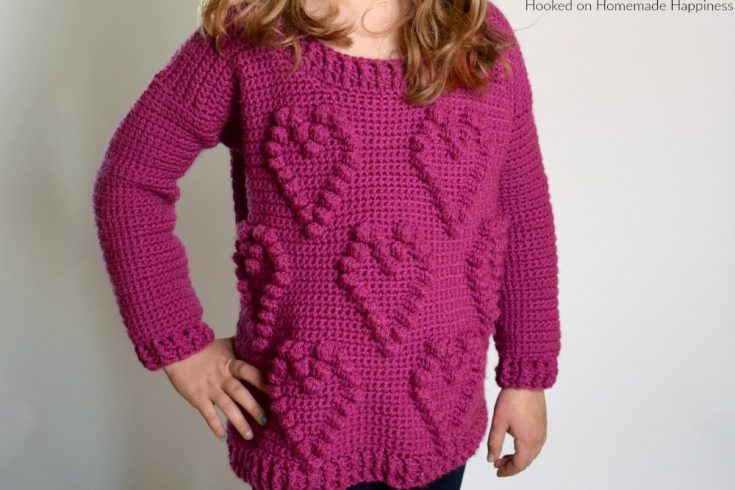 Sweetheart Sweater Crochet Pattern - This adorable Sweetheart Sweater Crochet Pattern has a fun heart pattern made with one of my favorite stitches... the bobble stitch!