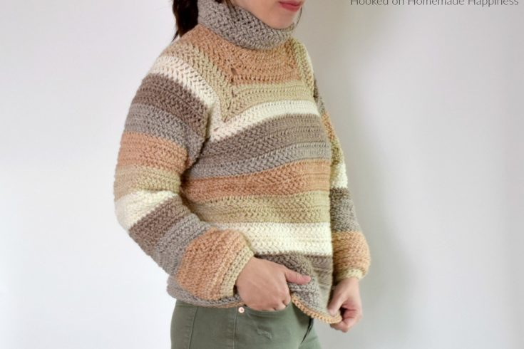 That 70s Sweater Crochet Pattern - That 70's Sweater Crochet Pattern is a cozy turtleneck sweater that requires no sewing! This sweater is a raglan style that starts with the turtleneck and works down.