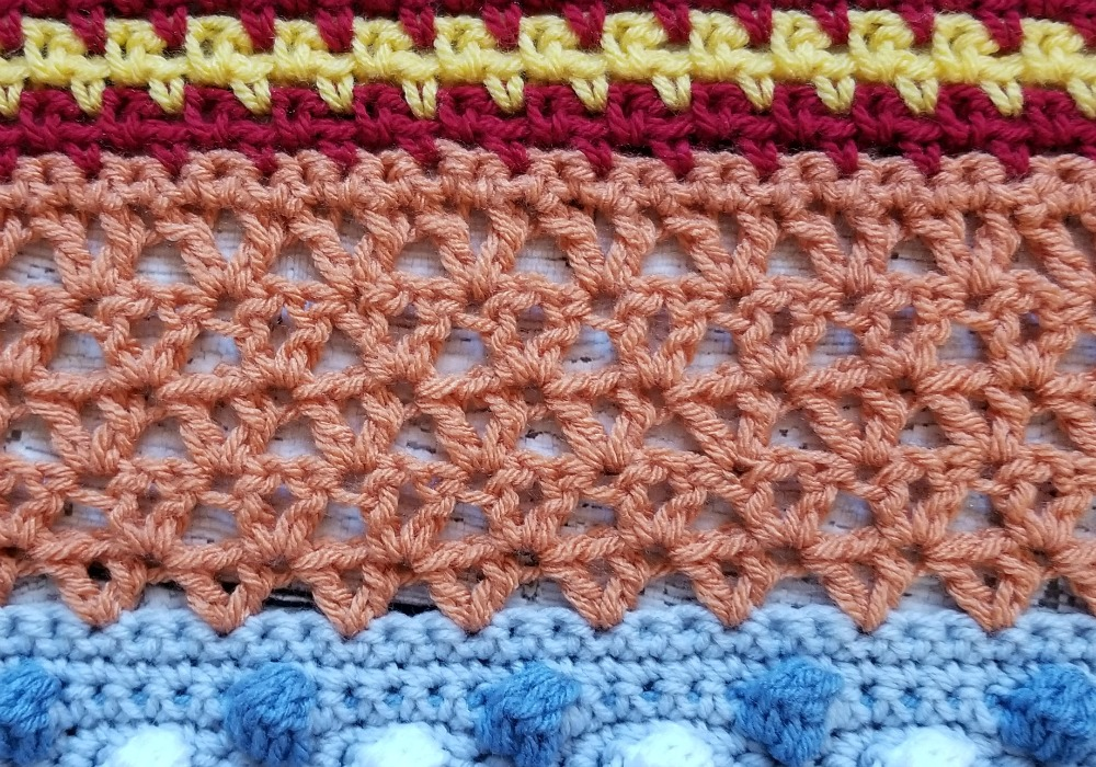 We're on PART 10! of the Stitch Sampler Scrapghan! Can you believe it? This week is one of my favorite stitches, the Offset V Stitch. I've used it quite a few times and I still have more plans for it!