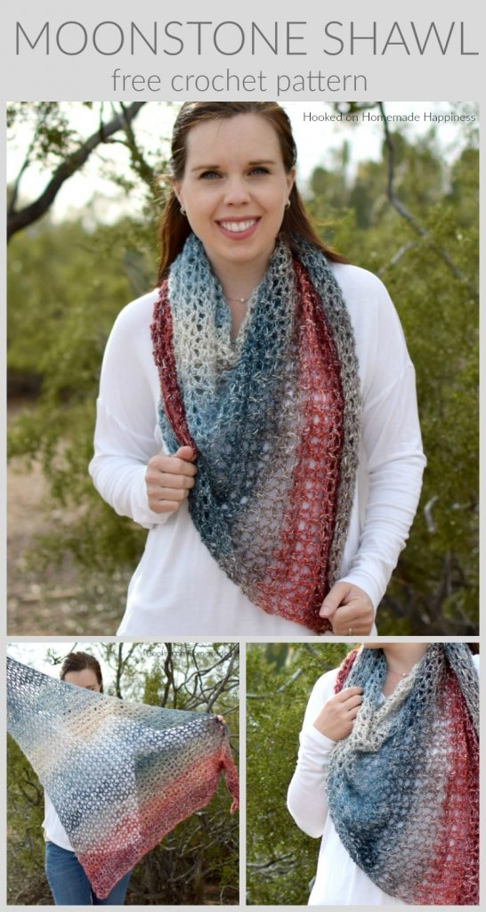 Moonstone Shawl Crochet Pattern - The Moonstone Shawl Crochet Pattern uses just 150g of yarn! Using the V stitch makes this shawl quick to make. It's a lightweight and airy shawl that's perfect for spring.