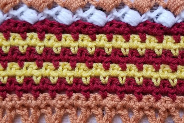 We're on part 11! Only a few weeks left! This week is a crochet classic, the Moss Stitch. This stitch is also known as the granite stitch or the linen stitch.