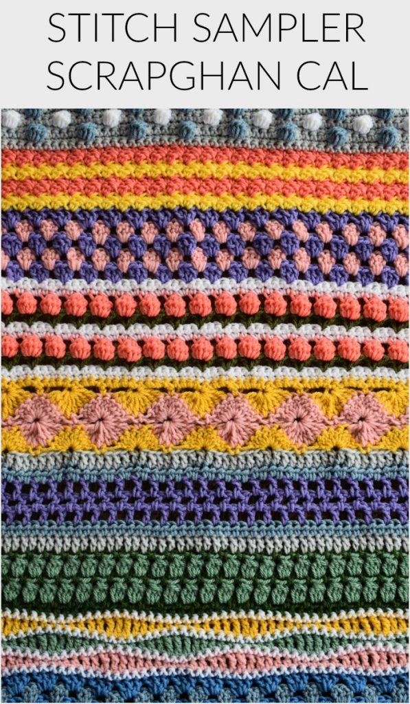 Welcome to Part 14 of the Stitch Sampler Scrapghan CAL! Only a couple weeks left until we're all done! This week is the Tulip Stitch. It's a repeat of a stitch we did earlier in the blanket.