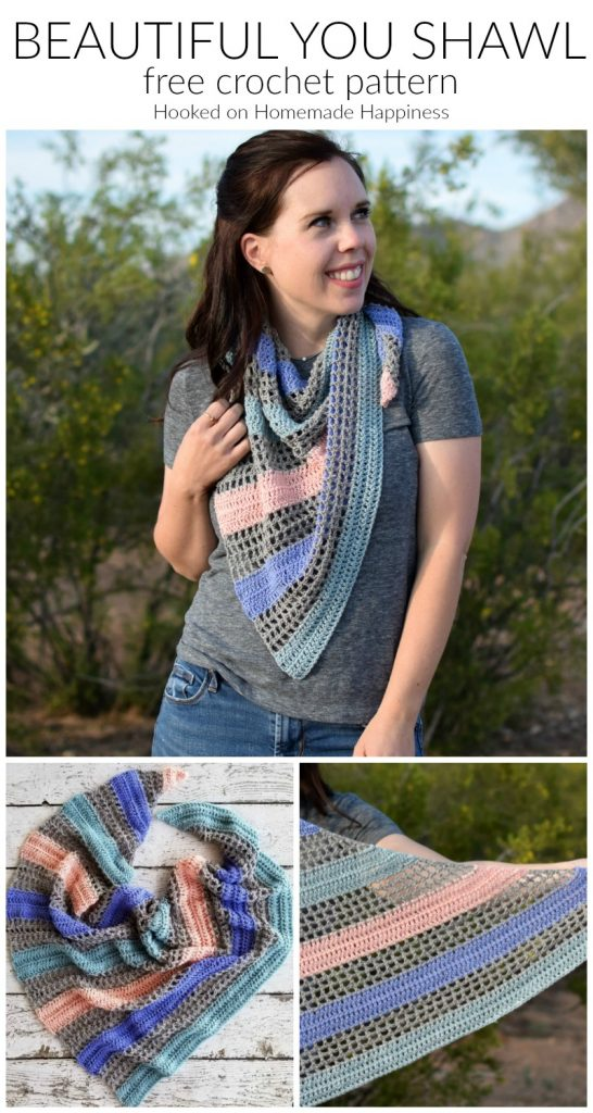 Beautiful You Shawl Crochet Pattern - The Beautiful You Shawl Crochet Pattern is made with sport weight yarn and is light enough for the warmer temps.