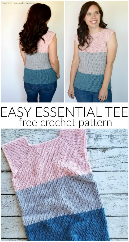 Easy Essential Tee Crochet Pattern - The Easy Essential Tee Crochet Pattern is just that.. EASY! And a spring closet essential! This tee is no seam and no sew! And I used one of my favorite new (to me) stitches, extended single crochet.