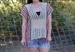 Picnic Poncho Crochet Pattern - The Picnic Poncho Crochet Pattern is made as one piece with very little sewing. Because of the DK weight yarn and the open stitch design, it's perfect for your summer picnic or as a swim suit cover. For mine I used patriotic colors for the summer holidays.