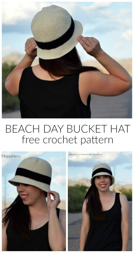Beach Day Bucket Hat Crochet Pattern - The Beach Day Bucket Hat Crochet Pattern is the first pattern in this year's Crochet Along for a Cause! This hat pattern offers complete head coverage with extra length due to the brim. It's a good hat to donate to cancer centers.