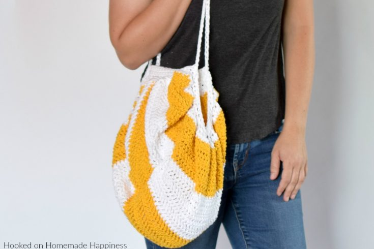 Circle-ish Market Bag Crochet Pattern - The Circle-ish Market Bag Crochet Pattern is made from a simple rectangle! This surprisingly simple market bag is large and sturdy enough to carry all your summer things.