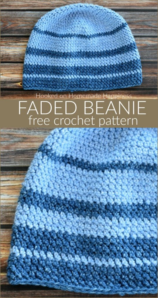 Faded Beanie Crochet Pattern - For the Faded Beanie Crochet Pattern I used one of my favorite acrylic yarns, Lion Brand Jean's yarn. It is so, so soft and is perfect for hats.