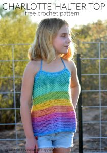 Charlotte Halter Top Crochet Pattern - The Charlotte Halter Top Crochet Pattern uses cotton DK weight yarn, so it's perfect for hot summer days! PLUS, this is a (mostly) no sew and no seam project.