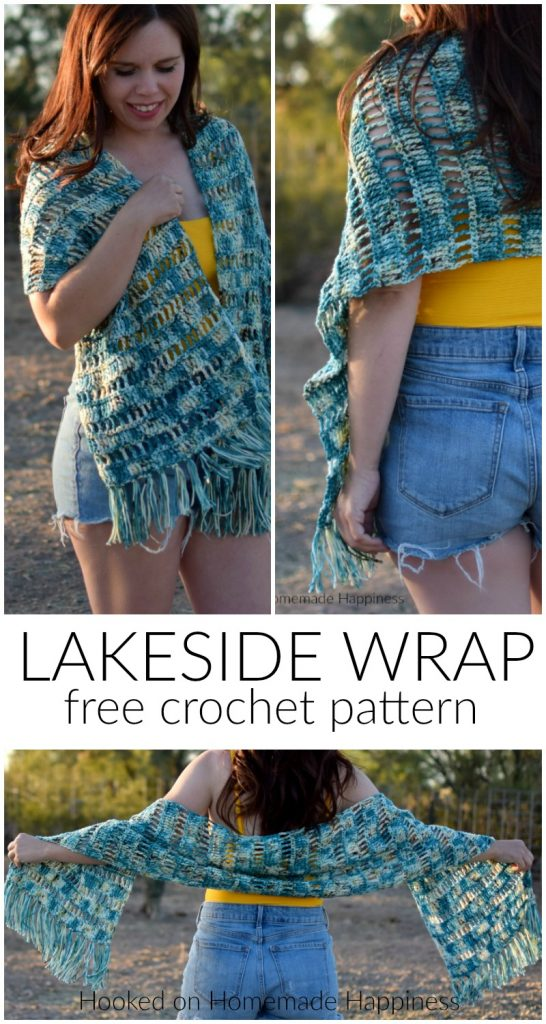 Lakeside Crochet Wrap Pattern - The Lakeside Crochet Wrap Pattern is so easy! You only need to know 3 simple stitches to make this open, airy design: chain, single crochet, and treble crochet.