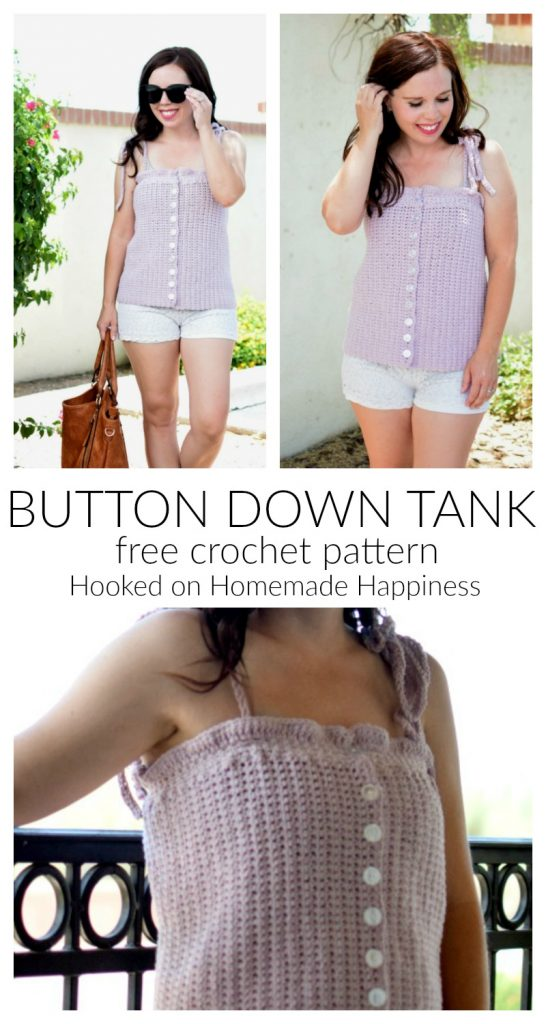 Button Down Tank Crochet Pattern - The Button Down Tank Crochet Pattern is just the cutest addition to your summer wardrobe! It's very simple construction (just a rectangle!) and I think any ambitious beginner could tackle this pattern.