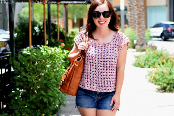Block Party Tee Crochet Pattern - The Block Party Tee Crochet Pattern uses an easy 2 row repeat and has very little sewing. It's a quick & easy top! It's made with DK weight cotton yarn, so it's light enough to wear on even the warmest days.