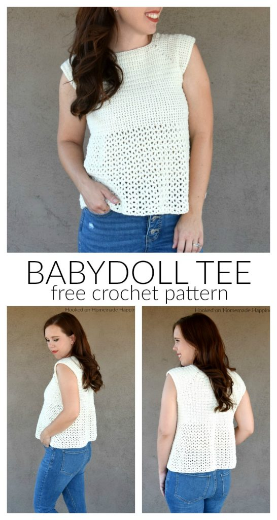 Babydoll Tee Crochet Pattern - The Babydoll Tee Crochet Pattern is made with a cotton blend, DK weight yarn so it's great for warmer months.