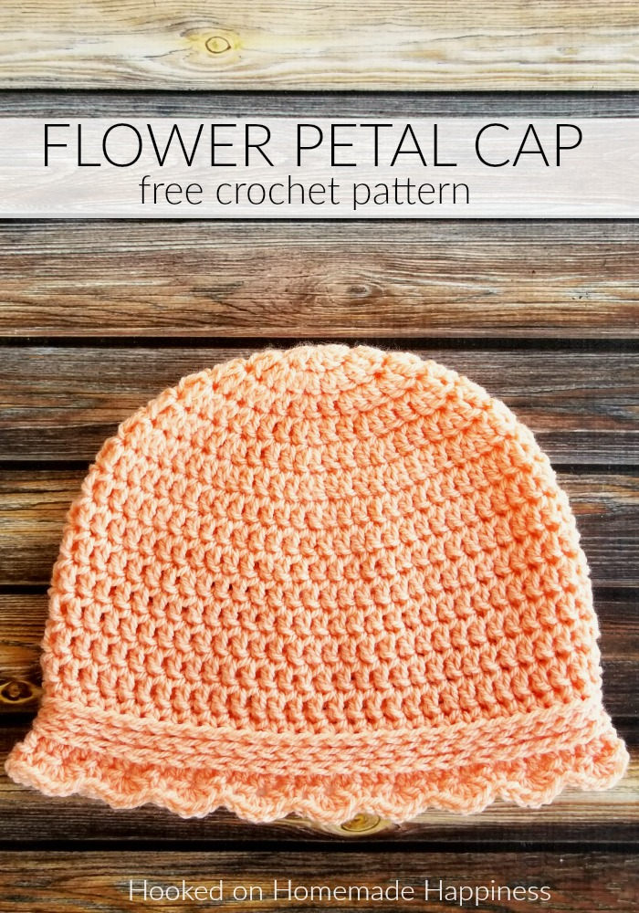 Flower Petal Cap Crochet Pattern - The Flower Petal Cap Crochet Pattern is a option for donating to cancer patients. It offers complete head coverage as well as neck and ear coverage. It's a quick and easy pattern with a little feminine touch.