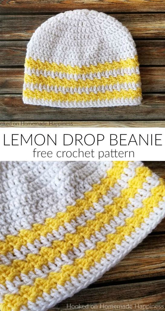 Lemon Drop Beanie Crochet Pattern - The Lemon Drop Beanie Crochet Pattern is an easy level, basic beanie pattern with a couple rounds of the Suzette Stitch for some texture!