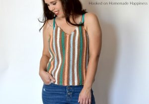 Macaron Cami Crochet Pattern - The Macaron Cami Crochet Pattern is the perfect crochet tank top! I love the V neck with the vertical stripes. It's made with DK weight cotton yarn, so it's very light and airy. Perfect for summer!