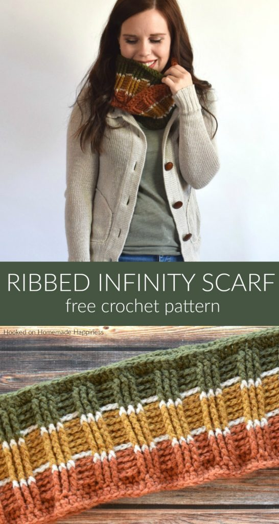 Ribbed Infinity Scarf Crochet Pattern = The Ribbed Infinity Scarf Crochet Pattern has some gorgeous texture! It's so easy to create this ribbed look. All you need is front post double crochet and back post double crochet!