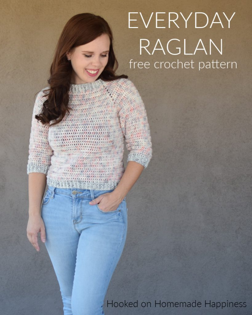 Everyday Raglan Crochet Pattern - The Everyday Raglan Crochet Pattern is quick, easy, and very customizable. I used DK weight yarn with a 3/4 length sleeve to make this sweater perfect for the warm fall we have here in Arizona.