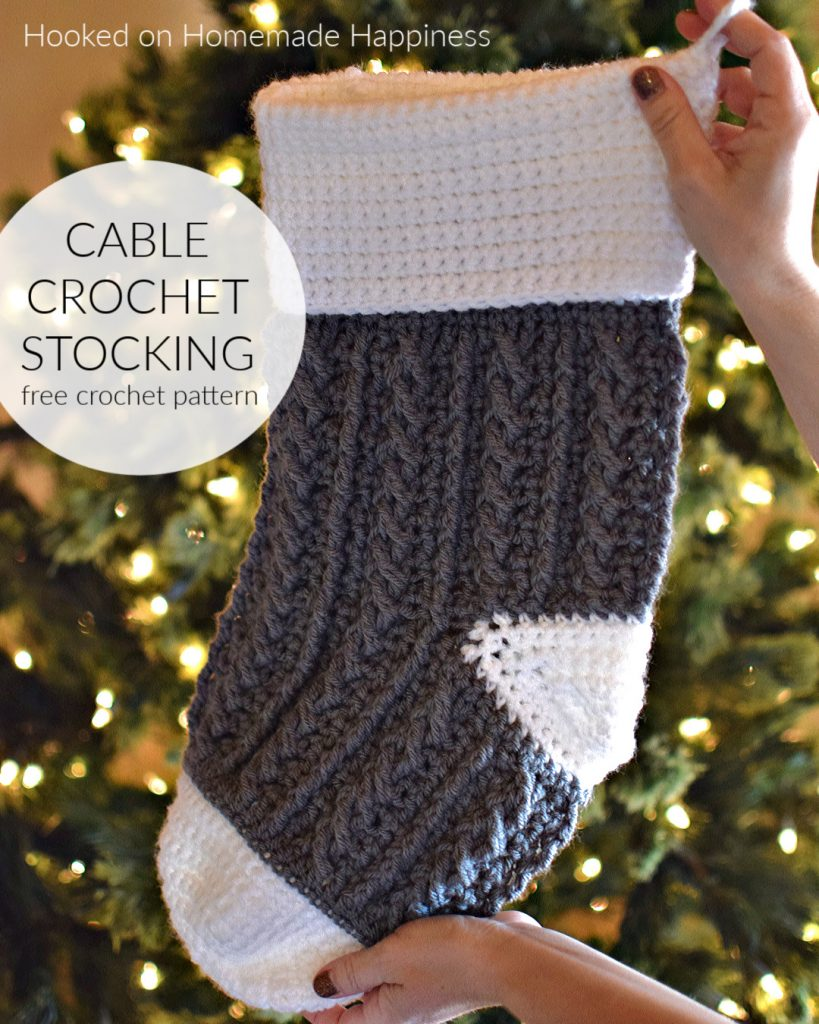 Cable Crochet Stocking Pattern - This Cable Crochet Stocking Pattern is so festive and cute! Because of the bulky weight yarn, it works up surprisingly fast.
