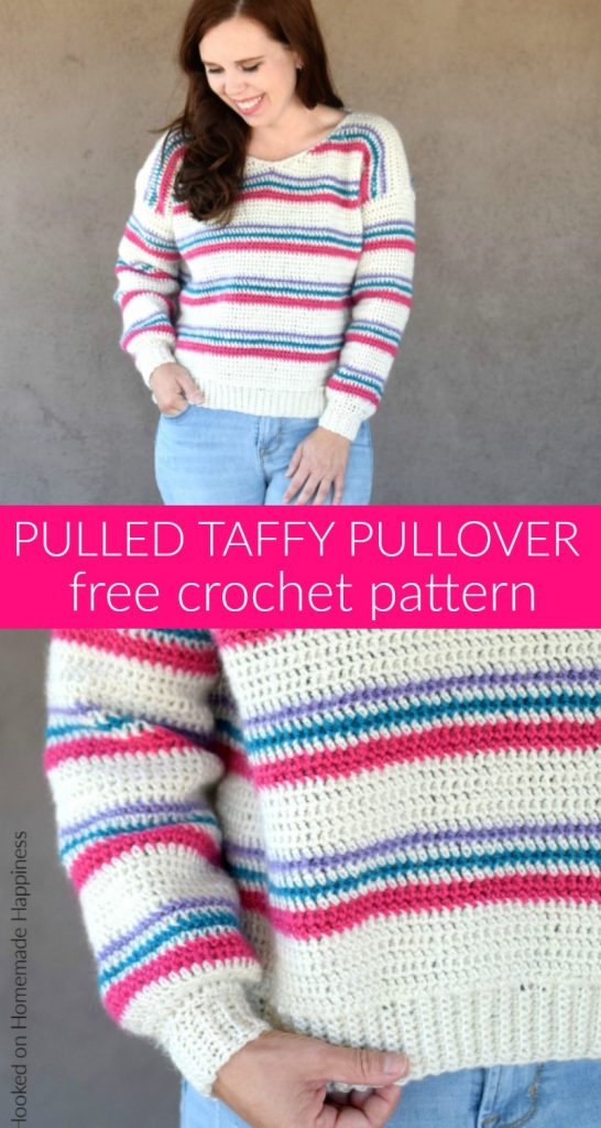 Pulled Taffy Pullover Crochet Pattern - The Pulled Taffy Pullover Crochet Pattern is a lightweight sweater that is perfect for fall and spring. It would also be fun for the holiday season! The stripes would be so cute in Christmas colors.