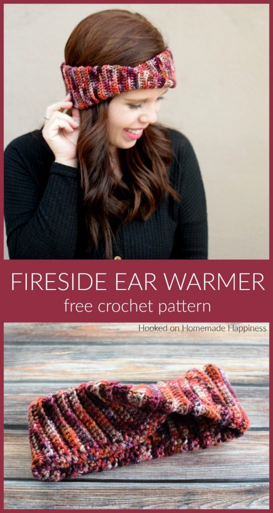 Fireside Ear Warmer Crochet Pattern - The Fireside Ear Warmer Crochet Pattern has a double brim so it's extra toasty for those cold winter nights!