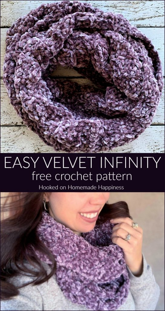 Easy Velvet Infinity Scarf Crochet Pattern - The Easy Velvet Infinity Scarf Crochet Pattern uses just 1 skein of Bernat Velvet yarn. The velvet yarn is so soft and luxurious. It makes such a soft and cozy winter scarf.