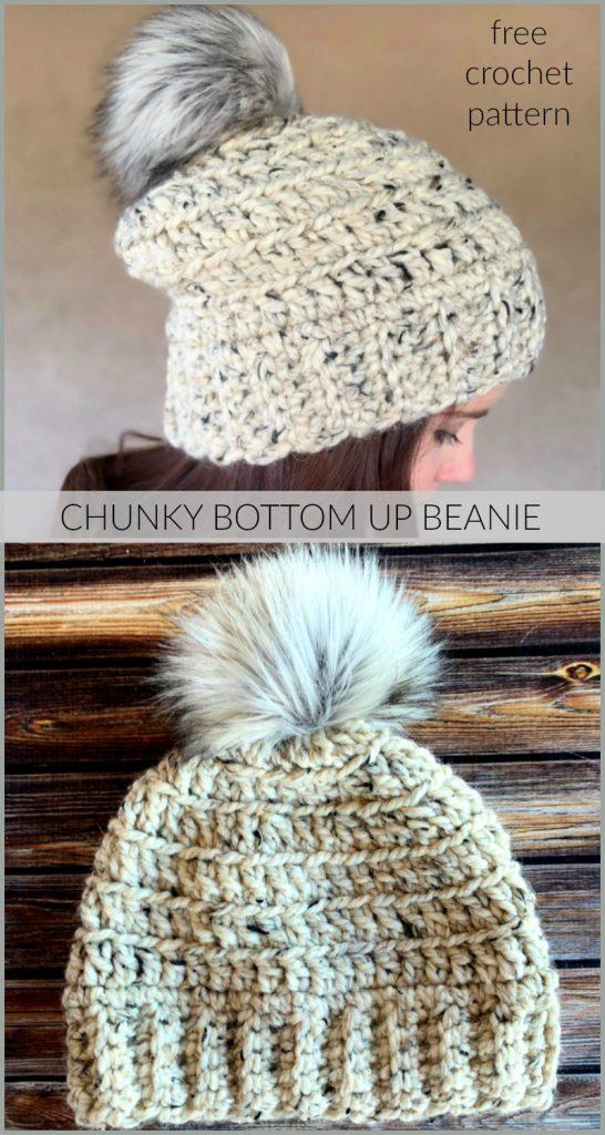 Chunky Bottom Up Beanie Crochet Pattern - The Chunky Bottom Up Beanie Crochet Pattern is the chunky version of the Beginner Bottom Up Beanie!