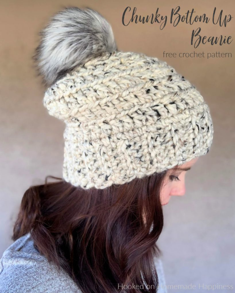 Chunky Bottom Up Beanie Crochet Pattern - The Chunky Bottom Up Beanie Crochet Pattern is the chunky version of the Beginner Bottom Up Beanie!