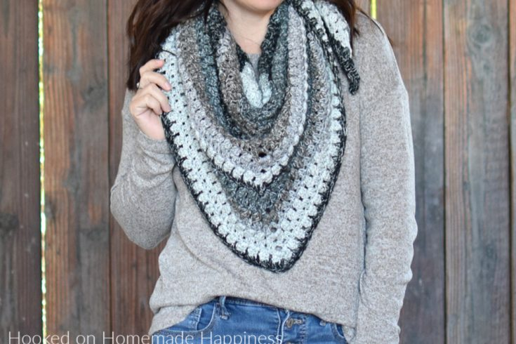 Cobblestone Shawl Crochet Pattern - The Cobblestone Shawl Crochet Pattern is a simple pattern with just a 2 row repeat. I used self striping yarn, so there aren't may ends to weave in.