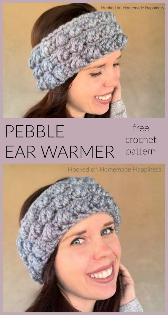 Pebble Stitch Ear Warmer Crochet Pattern - This Pebble Ear Warmer Crochet Pattern uses one of my favorite stitches, the Pebble Stitch! I love this stitch paired with a super bulky yarn. It makes for a fun, textured, thick ear warmer.