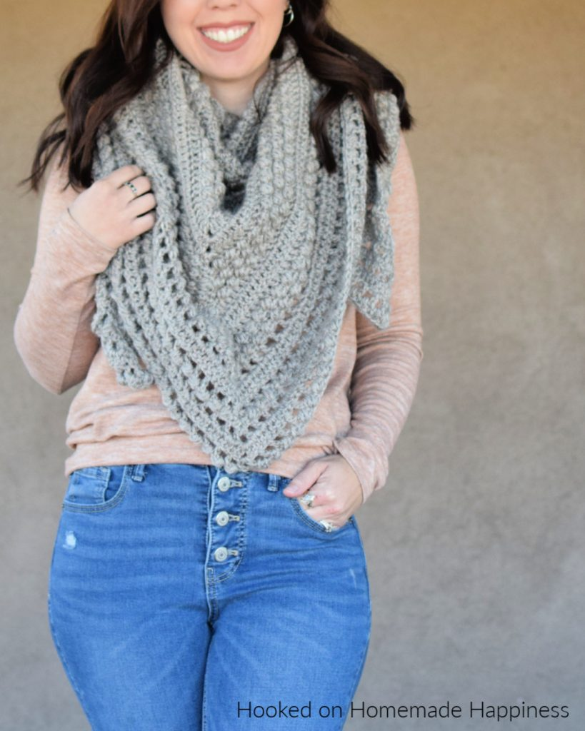 Pebble Shawl Crochet Pattern - The Pebble Shawl Crochet Pattern has a beautiful texture! It's large enough to comfortable wrap around the shoulders or worn as a triangle scarf.