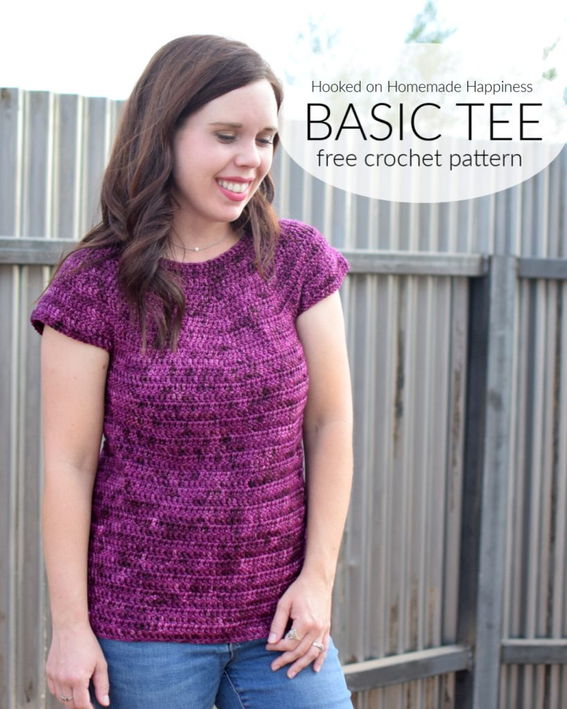 Basic Tee Crochet Pattern - The Basic Tee Crochet Pattern is all double crochet and is a super easy beginner top pattern!