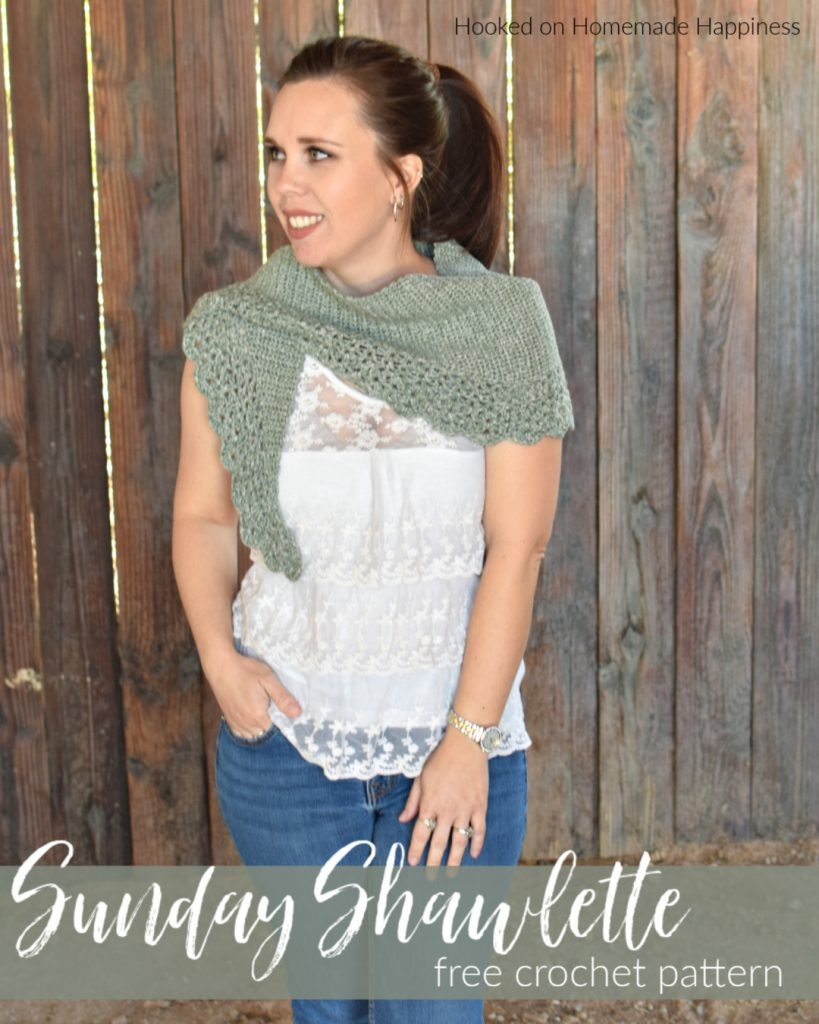 Sunday Shawlette Crochet Pattern - The Sunday Shawlette Crochet Pattern is a flirty & feminine design. It fits over the shoulders perfectly and is a beautiful accessory.