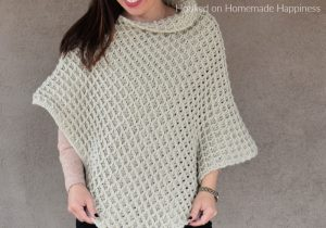 Waffle Stitch Poncho Crochet Pattern - The Waffle Stitch Poncho Crochet Pattern is one big rectangle made with this gorgeously textured stitch!